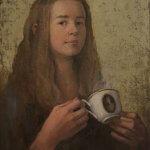 Self Portrait With Coffee by Monika Helgesen