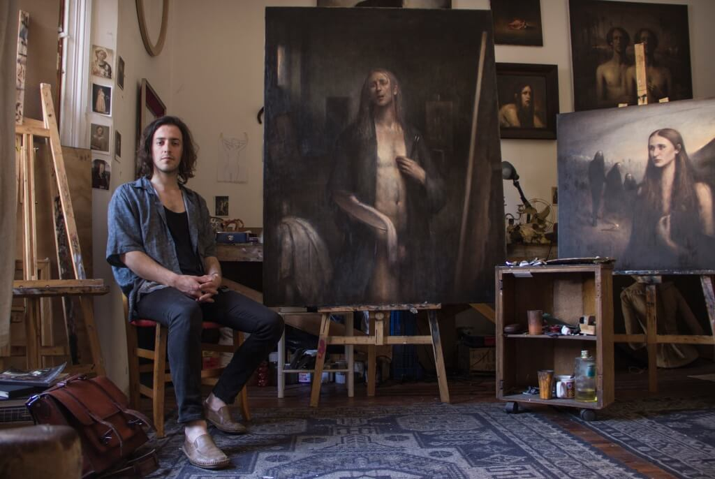 "Sebastian Salvo beside his painting ""Self Portrait with Dyspnea"" - Jury's choice in the World Wide Kitsch Competition 2015."