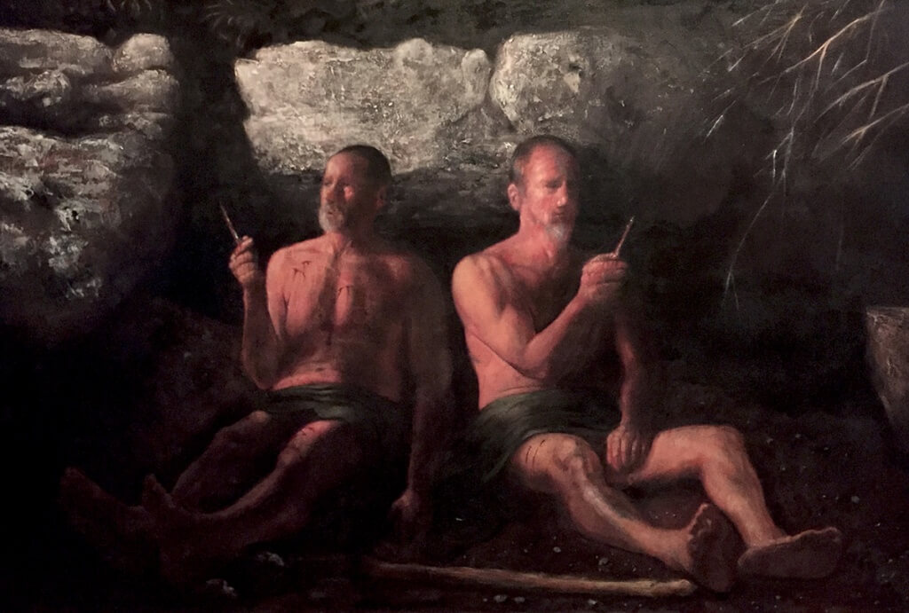 "R. D. Williams: ""Twins with Glass,"" oil on canvas, 36 x 60"", 2016"