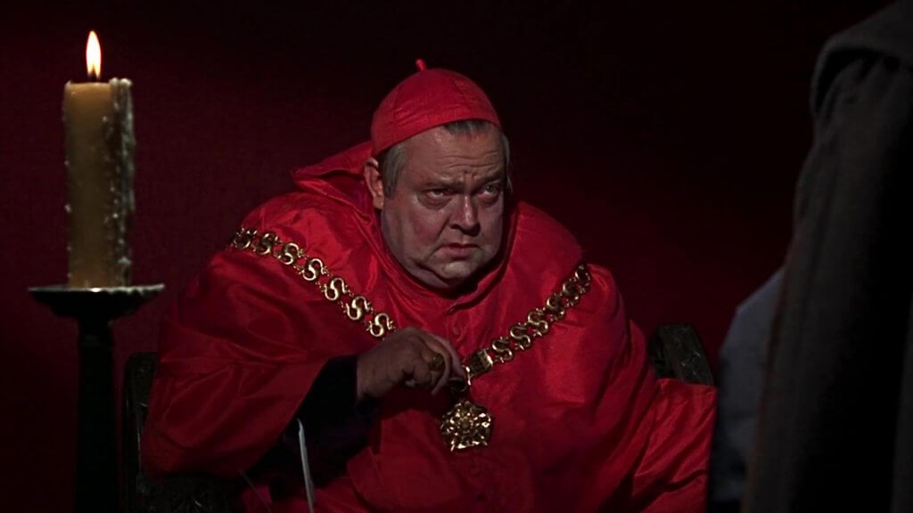 Orson Welles as Cardinal Wolsey.
